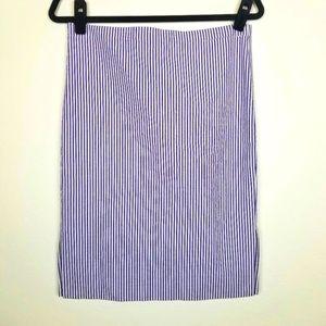 Loft Purple & White Stripe Pencil Skirt